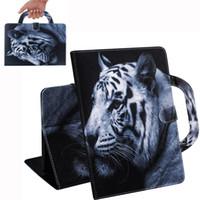 Etui Tablet Pour Huawei MediaPad M5 Lite 10 Poignée Flip Cover Stand Portefeuille En Cuir Coloré Dessin Tigre Lion Loup Coque