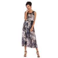 39dcdfc9bf Summer New Dress Women's Lady Print Long Section Waist Slimming Large Chiffon  Skirt New Fashion Female Popular Trend Style jooyoo