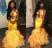 2019 Yellow African Mermaid Prom Dresses Strapless Illusion Bodice Cascading Ruffles Appliques Beads Long Formal Evening Party Gowns Cheap
