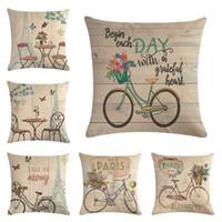 Fiore e bicicletta Lino Pillow Case Decorative Tiro Federa Divano Cafe Ufficio Cuscino Casa Auto Morbido Decor Regalo di compleanno festa