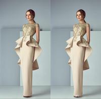 Champagne Arabic Soirée Robes Ruffles Sheer Bateau Cou Back Peplum Robes de soirée Share Train Formel Robe de bal Ogstuff