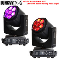 2pcs / lot Bee Eye 7 * 15W RGBW 4IN1 Zoom Led luz de cabeza móvil DMX512 Etapa profesional Dj Lighting