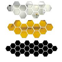 3D Hexagon Акриловое зеркало стены стикеры стены искусства декора наклейки Гостиная Зеркальные наклейки Золото Home Decor