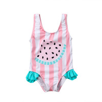 Toddler Baby Girls Watermelon Striped Swimsuit Swimwear Swim...
