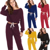 Sleeve O Neck Sweater Lace Up Waist Pocket Harem Pants Korean Sets Designer Casual Sets Sweater Retro Women Knitted Suits Long