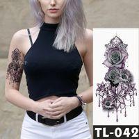 Gefälschte temporäre Tätowierungen Aufkleber Dark Rose Blumen Arm Schulter Tattoo wasserdicht Frauen Flash Tattoo auf Body Art SH190724