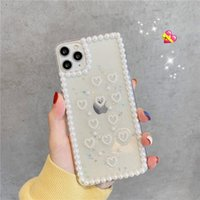 luxo designer casos de telefone iphone 11 caso Pro para iPhone XS MAX Xr 7 8 Plus Limpar Pérola Glitter Tampa coque iphone