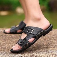 latest arrival designer Genuine Leather Slippers Mens Flat Sandals men Shoes Double Buckle Famous Brand Arizona Summer Beach Flip Flops