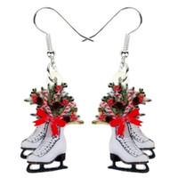 Dangle Avize Akrilik Noel Paten Çiçek Dekorasyon Küpe Kadınlar Kızlar Için Çiçek Yıl Hediye Takı Karakollar Natal