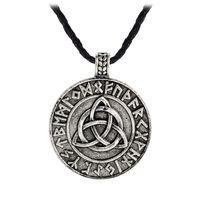 Valknut Pagan Amulet Vegvisir Viking Wax Cord Scandinavian Norse Biżuteria Runes Naszyjnik Wisiorek