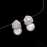 Schöne Diamant Zirkon camillia Blumenperlenohrstecker für Frau Mädchen Super ins Mode Luxus-Designer-925 Silber Post glitzernde