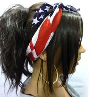 American Stars and Stripes Stampa Bandiera USA Bandana Fascia per capelli Vintage Casual Turbante Boho Archi per capelli Accessori per capelli 2019 Taglie forti