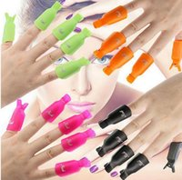 Plastik Tırnak Sanat Kapalı Cap UV Jel Cila Sökücü Wrap Aracı Nail Art İpuçları İçin Parmaklar 10Ppcs Klip Islatma / 11 renk ücretsiz gemi set