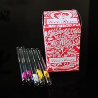 Tütün Boru Düz El Borular Renkli Nargile Sigara Duman Aksesuarlar Kutusu Paketi Sigara Çiçek İçerisinde 10cm ile Aşk Gül Cam Tüp