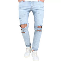 I nuovi Mens Jeans Moda Distressed Zipper jeans strappati Mens Skinny Pants motociclista cielo blu Hip Hop Denim Pants