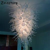 Большое внутреннее стекло декоративное освещение LED Современный потолок висит декоративного ручного дутья искусства белые люстры из муранского стекла