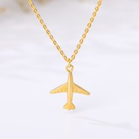 Stainless Steel Necklace For Women Plane Necklace Airplane P...