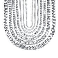 (TN-0022) 55 cm 316L Acero de titanio Estilo clásico Collares de cadena para hombres Mujeres Joyería de moda blanco oro Diferente tamaño
