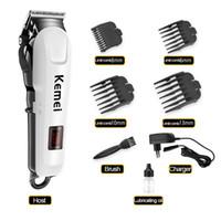 Kemei LCD professionnel Clipper cheveux rechargeable hommes sans fil rasoir électrique cheveux Styling Outil Wtih en acier au carbone Tête de coupe KM-809A