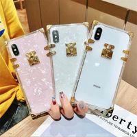 Luxus-Square Klare TPU-Fälle für iPhone 12 11 Pro max Stoßfest Weiche Silikon-Bling-Telefon-Abdeckung ForiPhone X xs XMAX XR 6 7 8 Plus