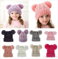 Kid Knit Crochet Beanies Hat Girls Soft Double Balls Winter ...