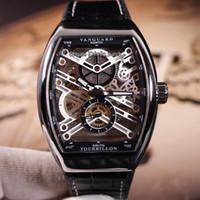 Yeni erkek Koleksiyonu Vanguard Çelik Kasa V 45 S6 SQT NR BR (NR) İskelet Dial Otomatik Erkek Saat Siyah Deri / Kauçuk Kayış Gents Saatler
