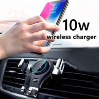 Беспроводное зарядное устройство Qi Автомобильное зарядное устройство Автомобильный держатель Air Vent держатель телефона 10Вт Зарядка для Iphone XS MAX XR X 8 Plus Samsung S10