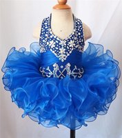 2019 Halter Pageant Pagebake платье для детских девочек из бисера из бисера горный хрусталь из бисера мини-платья бисером