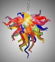Italiano Murano Pingente de vidro colorido barato pequeno candelabro Lighting Living Room Atacado LED Hand Blown Art Glass Chandelier Lighting