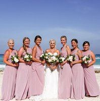 Dusty Pink Chiffon Long Bridesmaid Dresses Sexy One Shoulder...