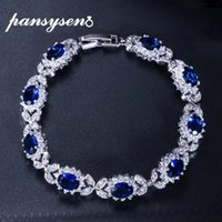 Bracciali PANSYSEN Dark Blue Sapphire di donne con Cubic Zirconia Diamante Pietra 925 Sterling Silver Wedding Party Fine Jewelry CX200706