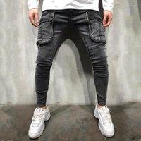 Дизайнерские Джинсы Мода Большой Карман Панелями Молния Fly Мужские Дизайнерские Джинсы Мужчины Отверстие Панелями Мужская Одежда