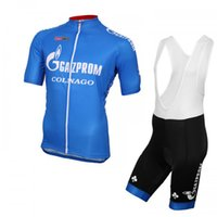 Gazprom 팀 사이클링 반팔 팬츠 저지 턱받이 반바지 세트 레이싱 자전거 Maillot Ciclismo MTB 자전거 의류 운동복 U71855