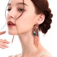 새로운 보헤미아 패션 쥬얼리 여성 페르시 조류 개의 Tassels 귀걸이 손으로 만든 구슬 매달려 스터드 귀걸이 (S704)