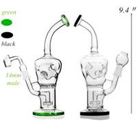 9,4 pouces vert en verre noir Bong Showerhead Prc Honeycomb Prc double paroi Partie trou Verre Pipes eau avec 14mm Joint