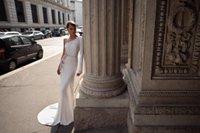 Julie Vino Mermaid Wedding Dresses One Shoulder Backless Long Sleeves Applique Crystal Sash Wedding Dress Sweep Train Vestidos De Novia