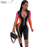 HAOYUAN 2019 New Sexy Mesh Splicing Playsuit Womens Streetwe...