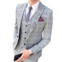 الدعاوى للرجال الحلل 2021 الأعمال عارضة اللباس واحد الصدر الصيف الملابس بوتيكهاي جودة الزفاف مأدبة دعوى ثلاث قطع بدلة.