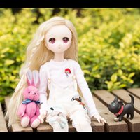 BYBJDHOME New BJD SD Doll Clothes set Bib + pink and white s...