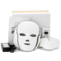 7 LED couleur Luminothérapie visage beauté LED machine visage masque du cou avec microcourants pour le dispositif de blanchiment de la peau dhl envoi gratuit