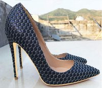 2019 new type Navy Blue Women' s High- heeled Shoes 8cm 1...