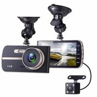 Coche DVR 4.0 pulgadas cámara doble lente, coche oculto dashcam doble lente hd. Con cámara de vídeo retrovisor automática.