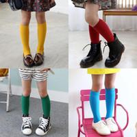 Meninas Meninos Criança Adorável Joelho meias altas Primavera Outono Popular algodão cor sólida Casual Confortável Inverno Crianças longo Sock