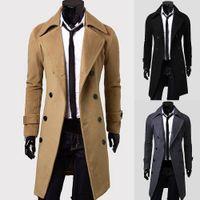 Мода Мужчины Сплошной Цвет С Длинным Рукавом Нагрудные Кнопки Slim Fits Пальто Пальто И Пиджаки Holyrising Шерстяное Пальто Мужчины Пальто И Куртки