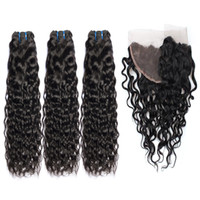 Brazilian Nature Wave Human Hair Weaves 3 Bundles with 13x4 ...
