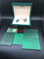 أفضل نوعية الظلام الأخضر ووتش مربع هدية لحالة بطاقات رولكس ساعات كتيب وأوراق باللغة الإنجليزية صناديق الساعات السويسرية
