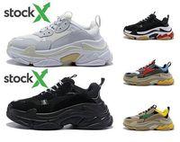 패션 디자이너 파리 17FW 트리플 S 남성 여성 베이지 블랙 캐주얼 배 S 신발 36-45를위한 2018 배 S 스니커즈 데시 럭셔리 아빠 신발