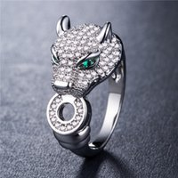 Classic Designer Jewelry Ring Crystal Leopard Head Gold Plat...