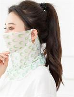 Druckmaske Frauen Frühling und Sommer-Gesichtsmaske Free Size Muster-Druck-Anti Sunburn Maske Verbandsmull Blumen