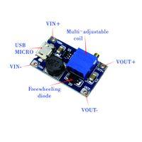 DC-DC-instelbare boostmodule 2A Boostplaat 2A-stap-upmodule met Micro USB 2V - 24V tot 5V 9V 12V 28V MT3608 LM2577